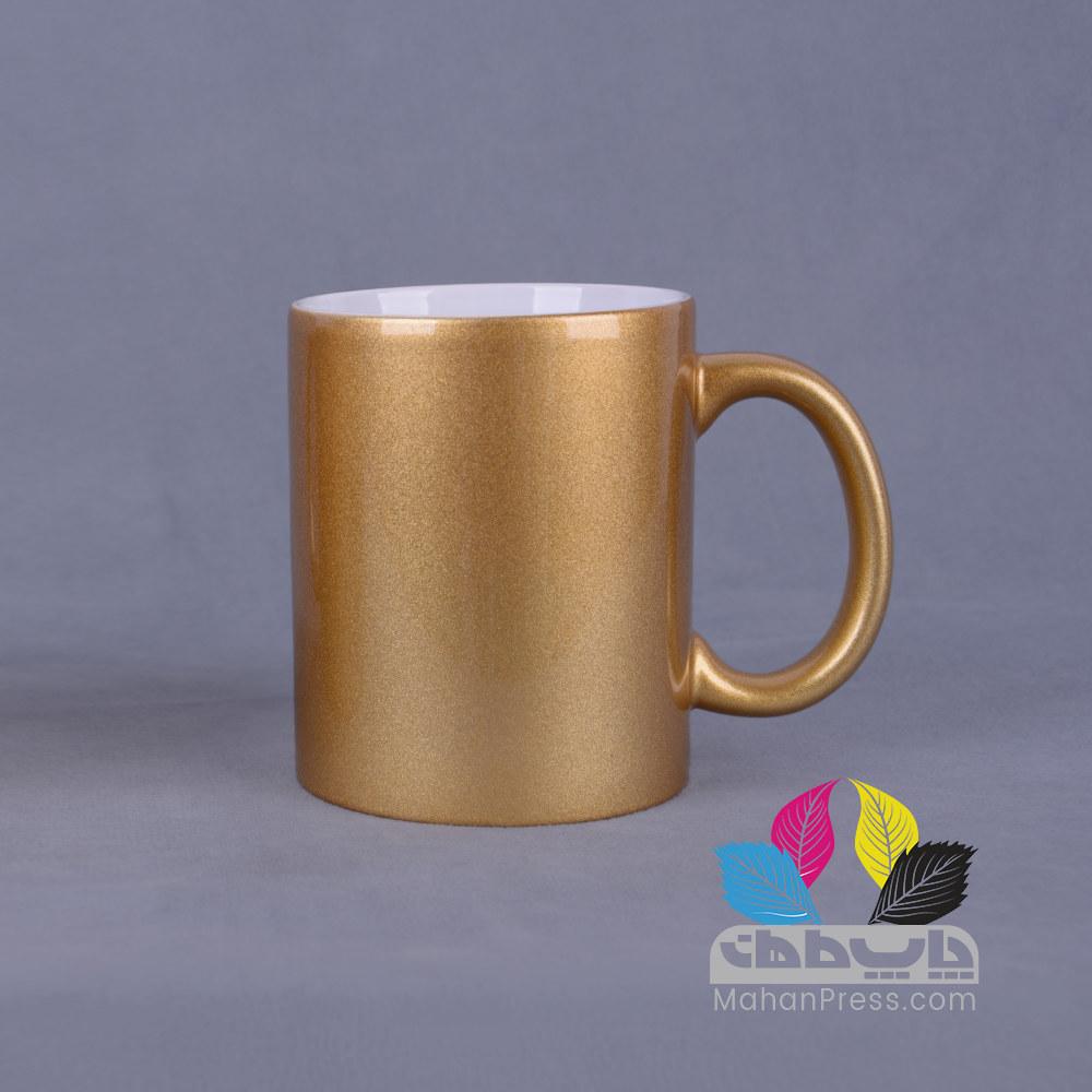 خدمات چاپ روی لیوان سرامیکی طلایی - چاپخانه ماهان